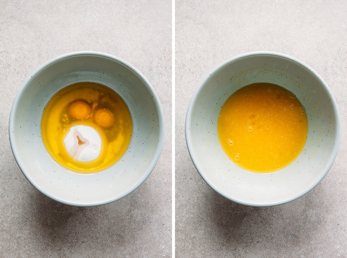 Eggs and sugar un-whisked and whisked in a bowl.