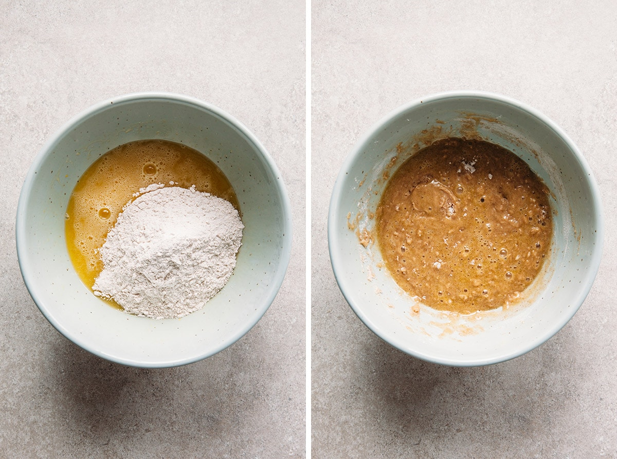 Cake batter before and after stirring.