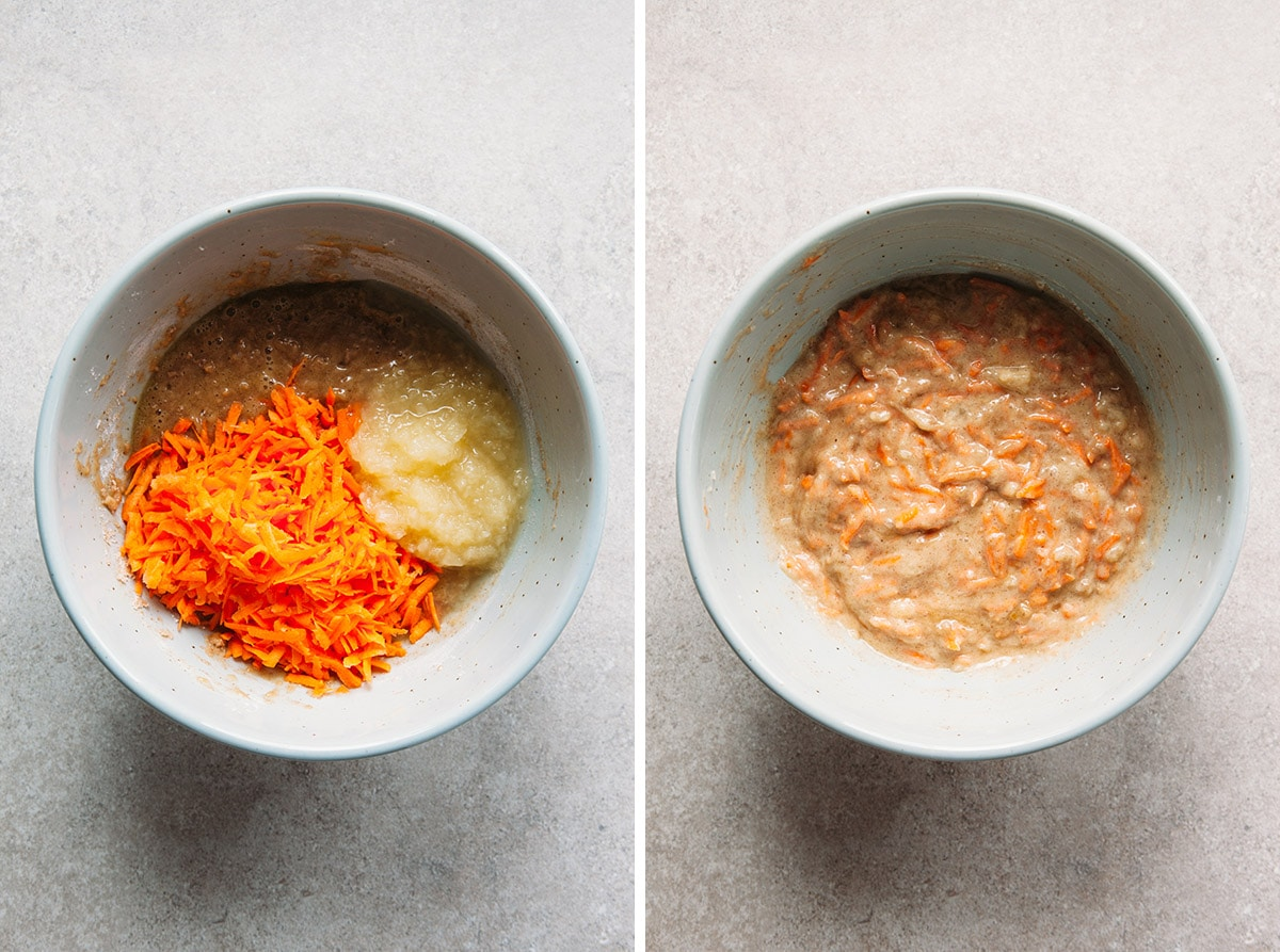 Carrots and pineapple folded into cake batter.