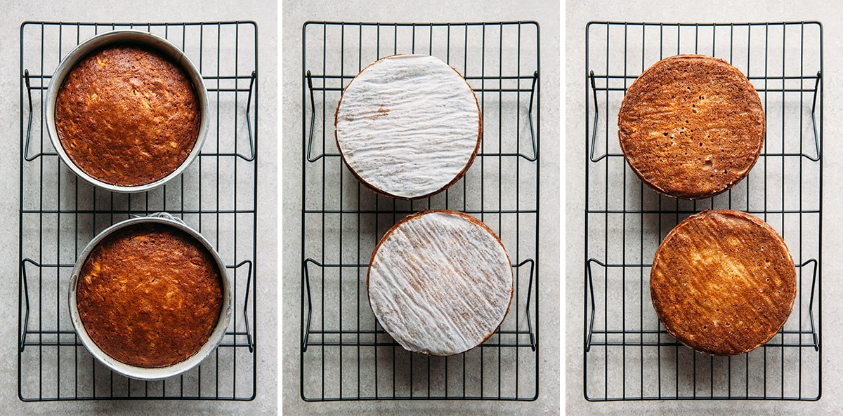 Two small cakes cooling on a rack.
