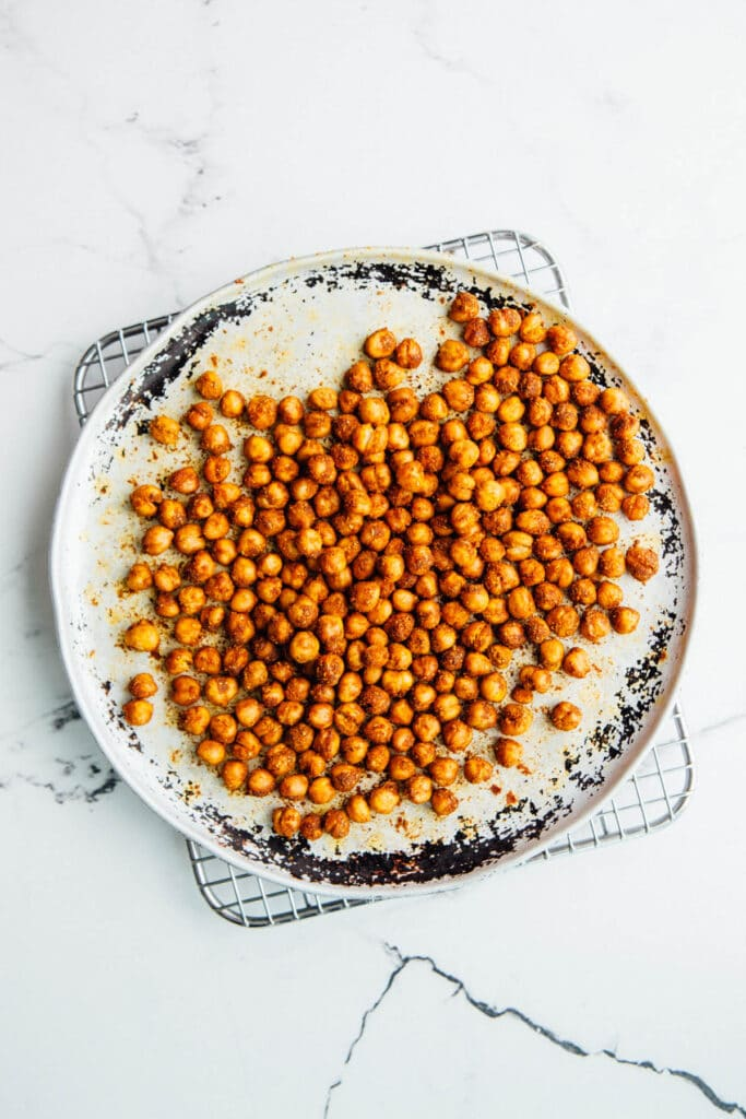 A tray of crispy roasted chickpeas.