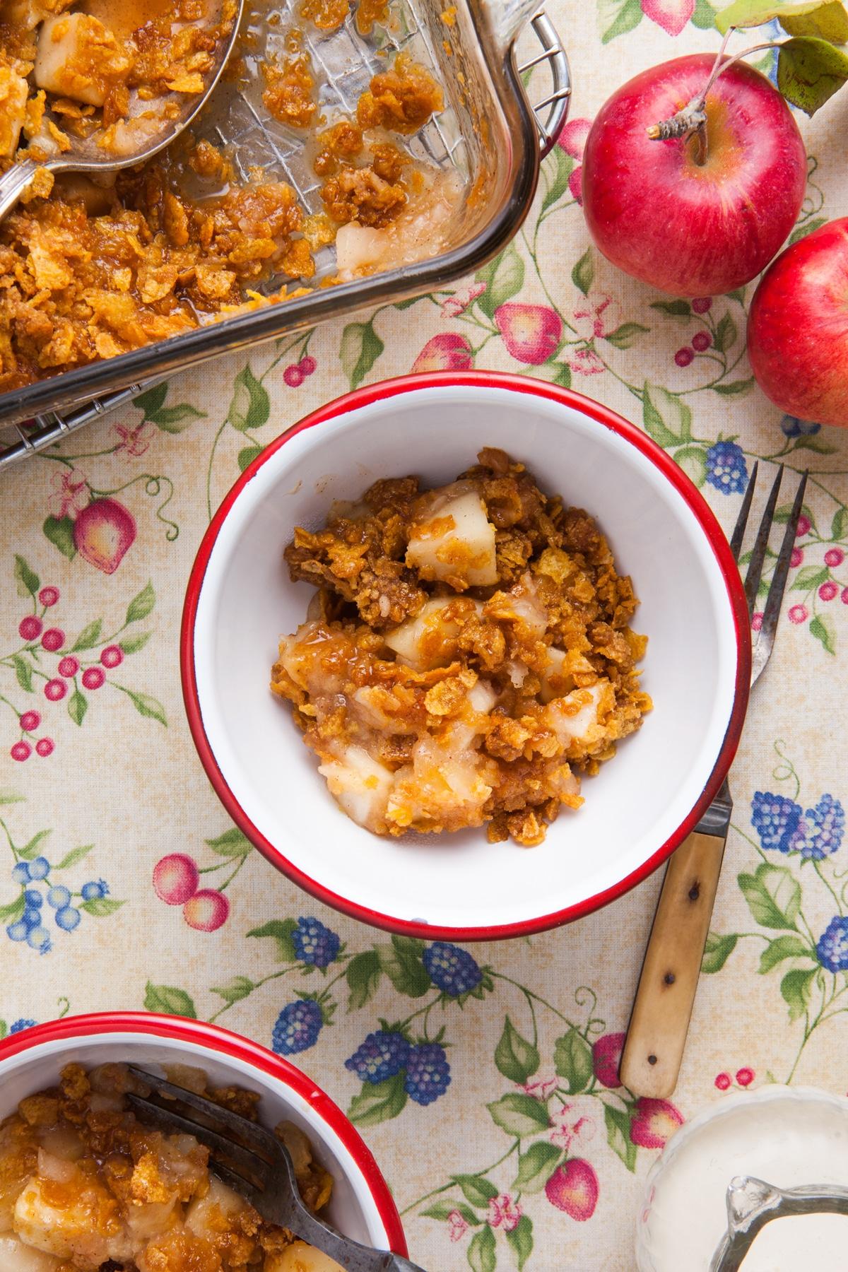 A bowl of apple cider cornflake crisp.