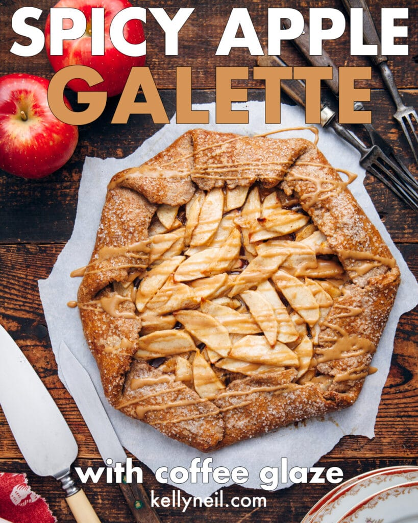 Spicy apple galette with coffee glaze on a wooden table.