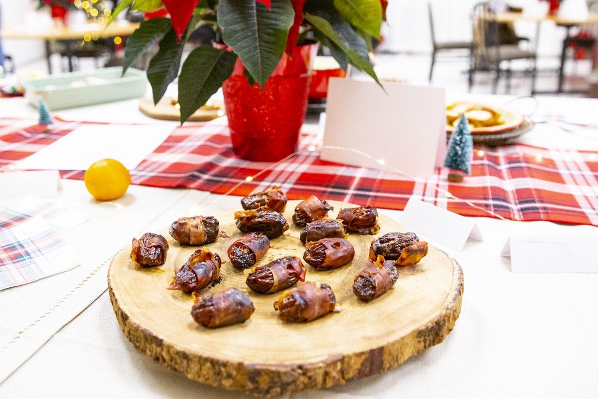 A platter of stuffed dates.