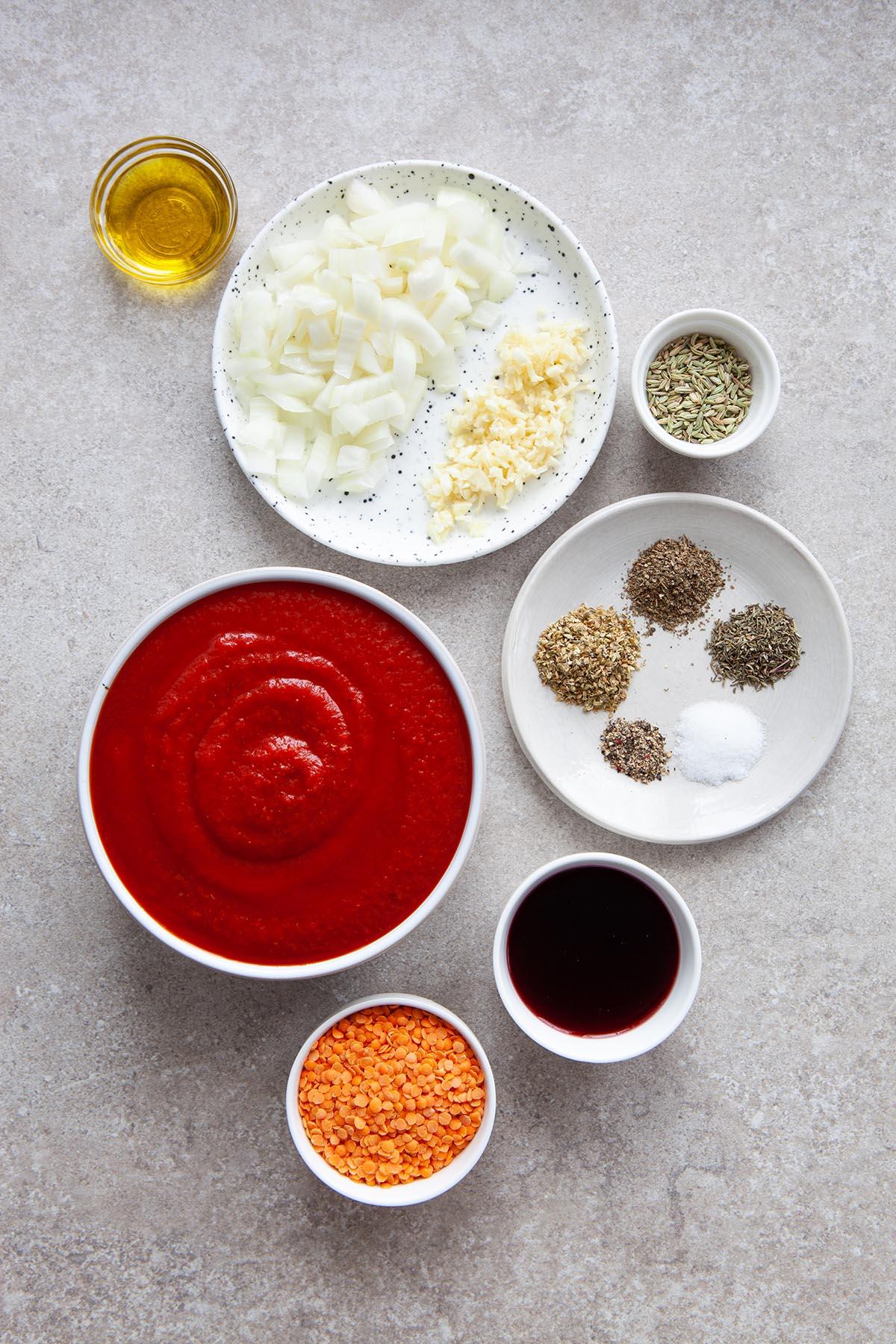 Pasta sauce ingredients.
