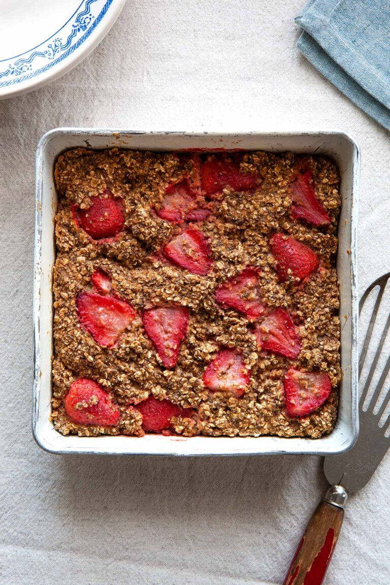A square pan of strawberry baked oatmeal.